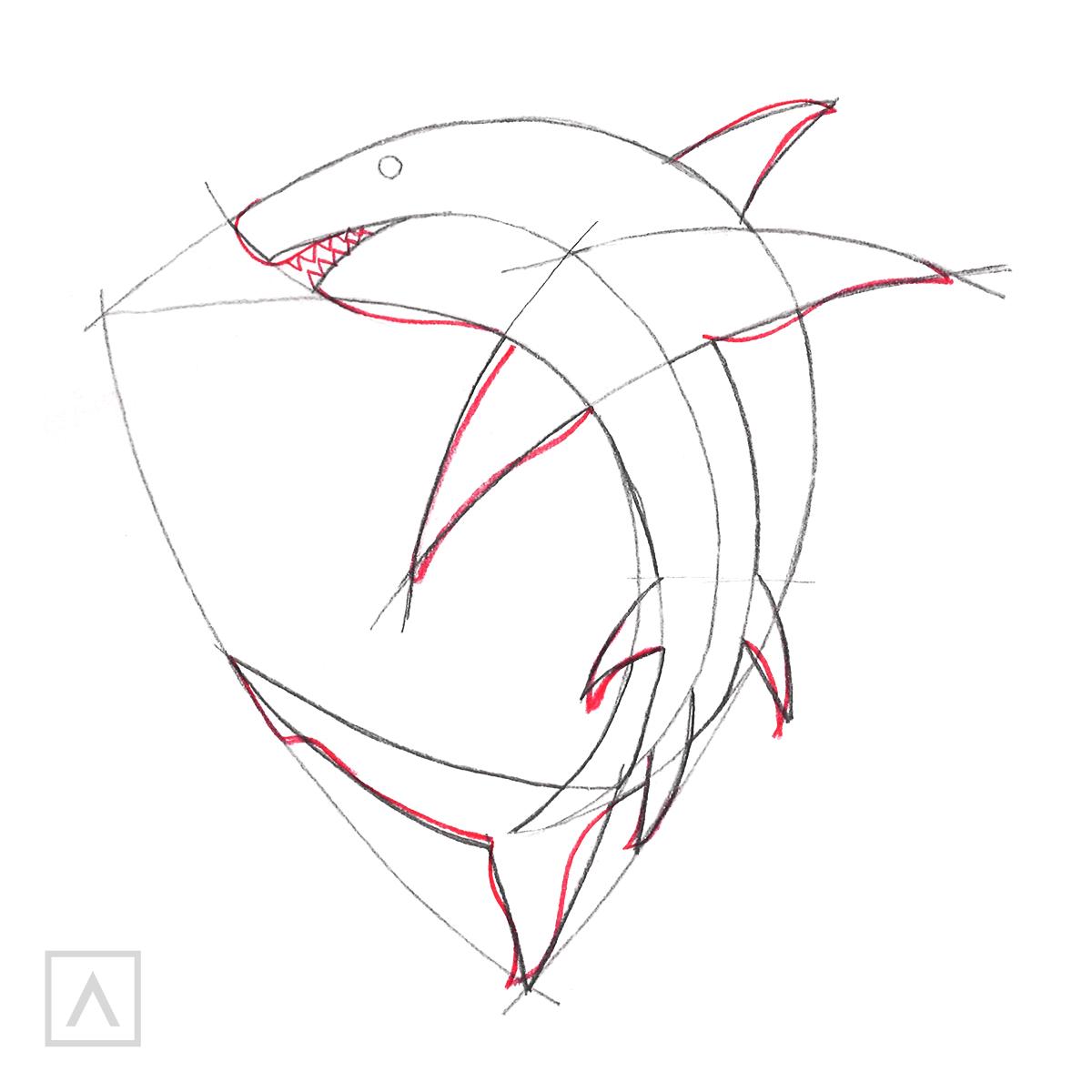 Shark Drawing Step 4