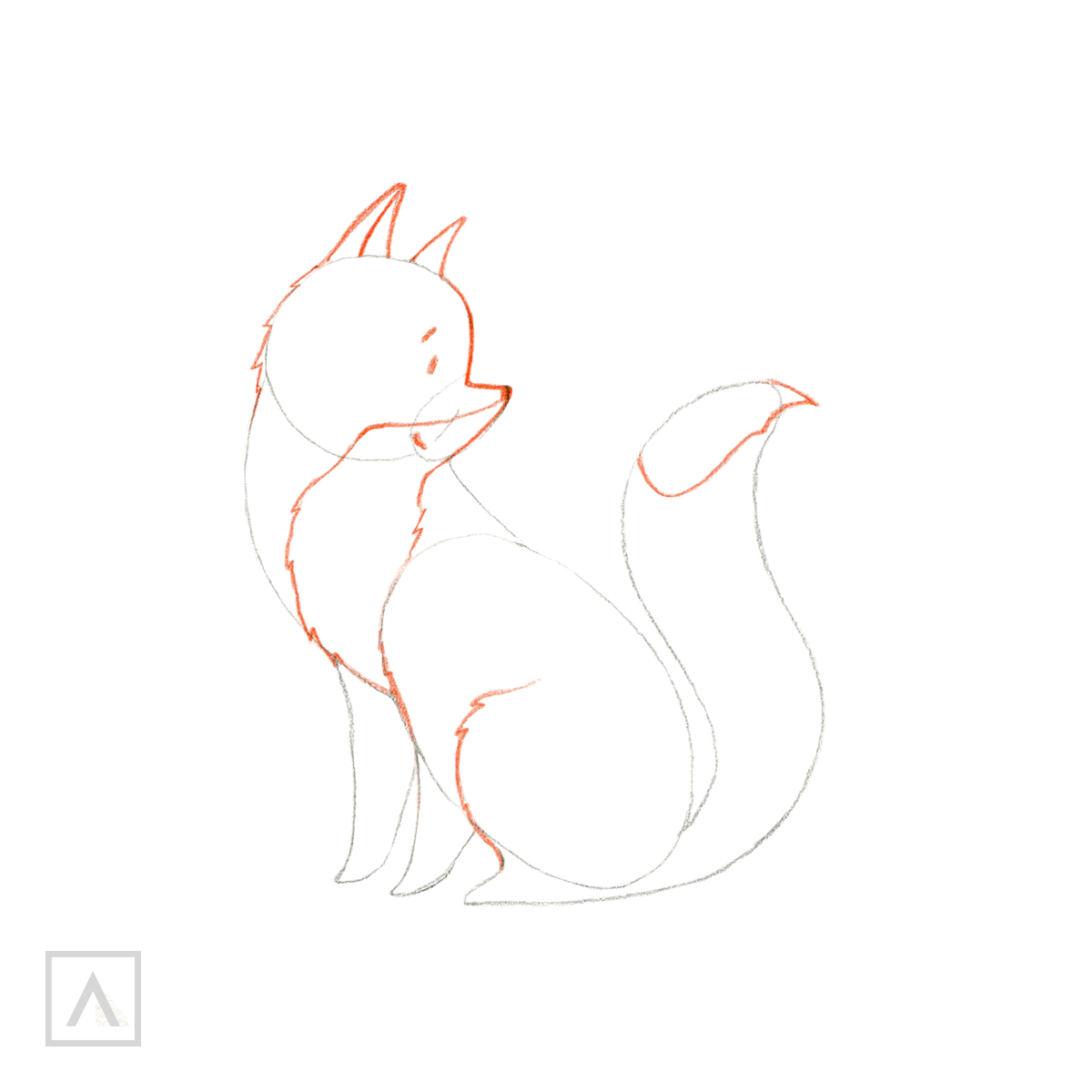 How to draw a fox - Step 3