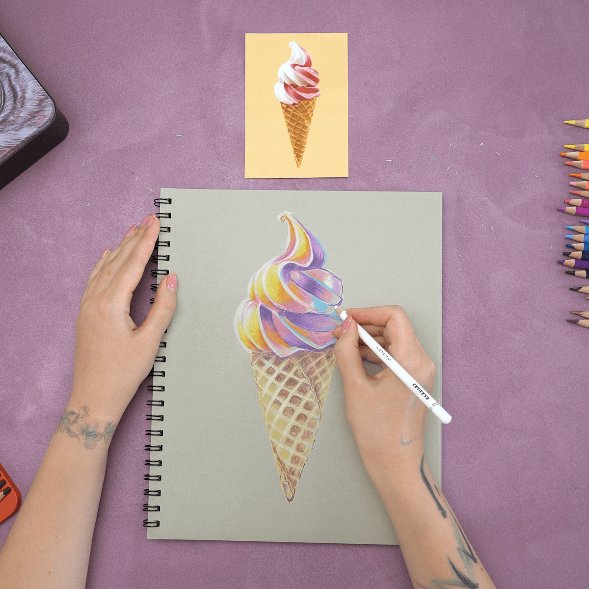 How To Draw Ice Cream With Colored Pencils Arteza Camp Day 5 Arteza How to draw an ice cream | the emoji movie. to draw ice cream with colored pencils