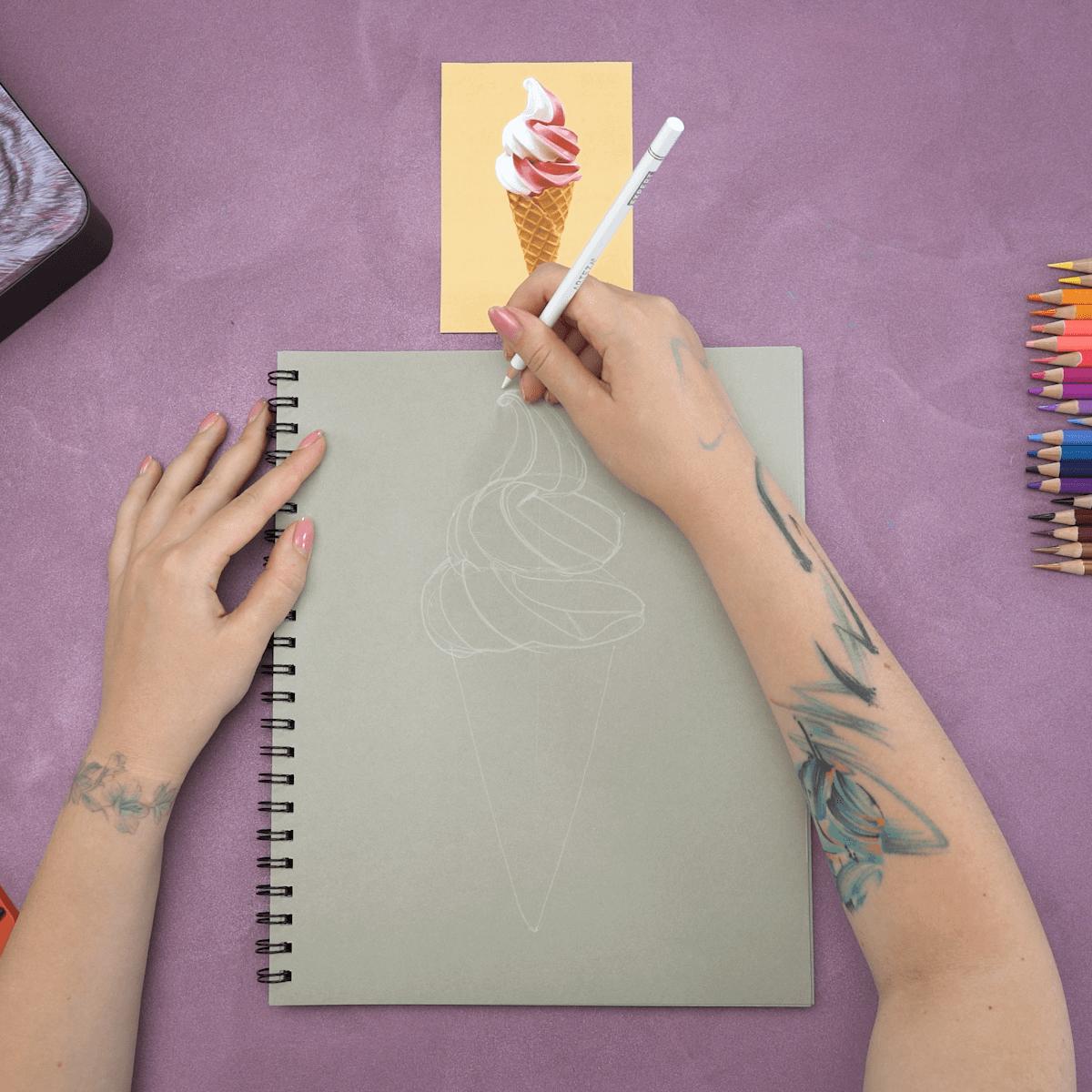 Ice Cream Cone Drawing Step 1