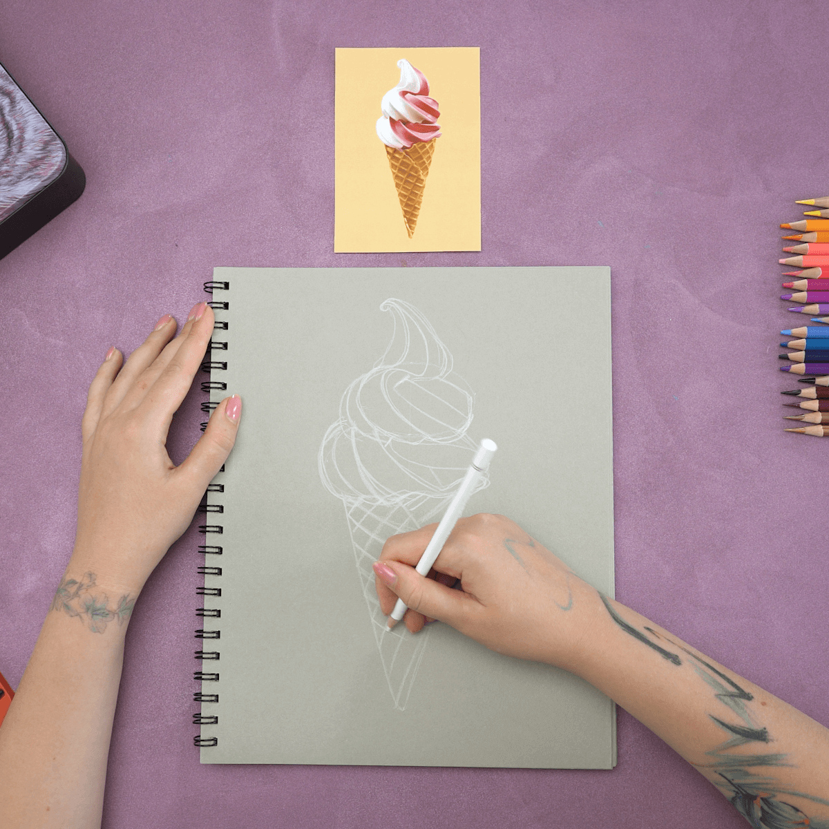 Ice Cream Cone Drawing Step 3
