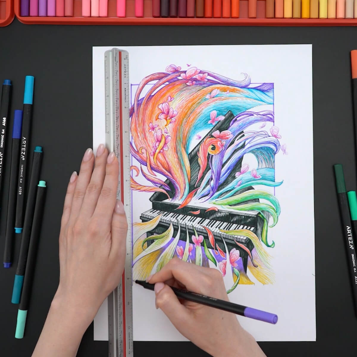 Grand piano drawing