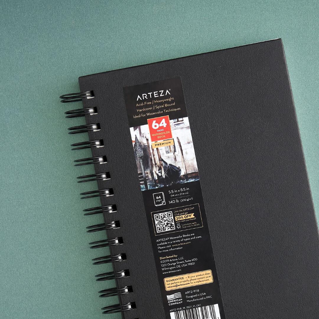 ARTEZA Watercolor Spiral-Bound Hardcover Pad
