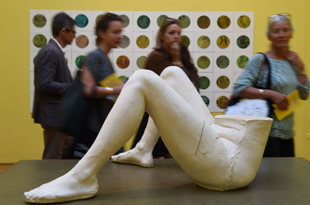 A piece by British artist Sarah Lucas at the 2015 Biennale in Venice, Italy