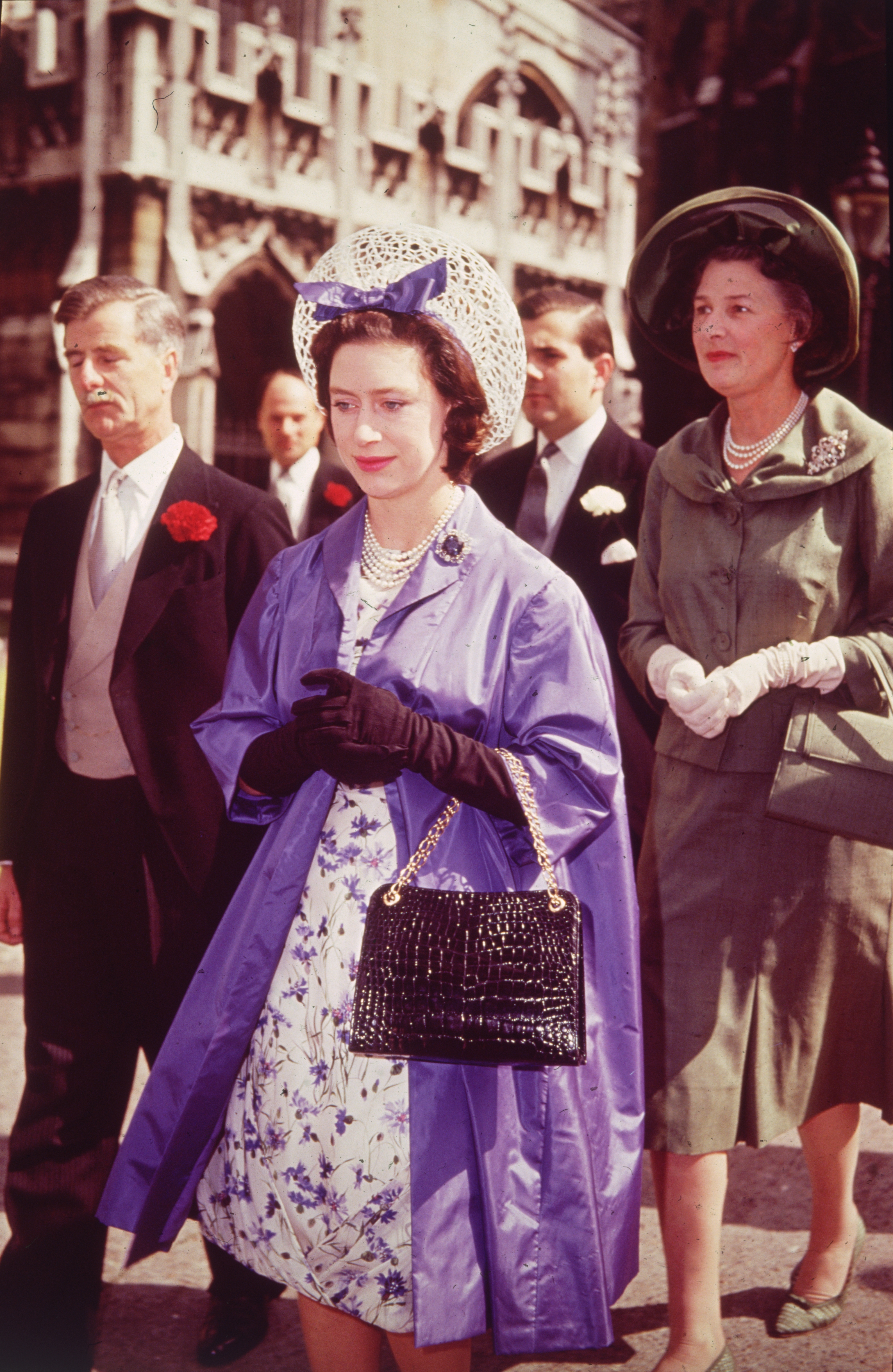 Princess Margaret (1962) attends a wedding at Westminster Abbey, London