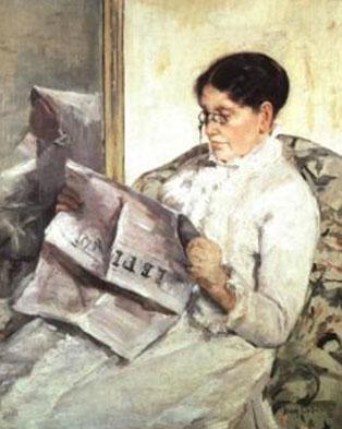 """Reading """"Le Figaro"""", by Mary Cassatt, 1878"""