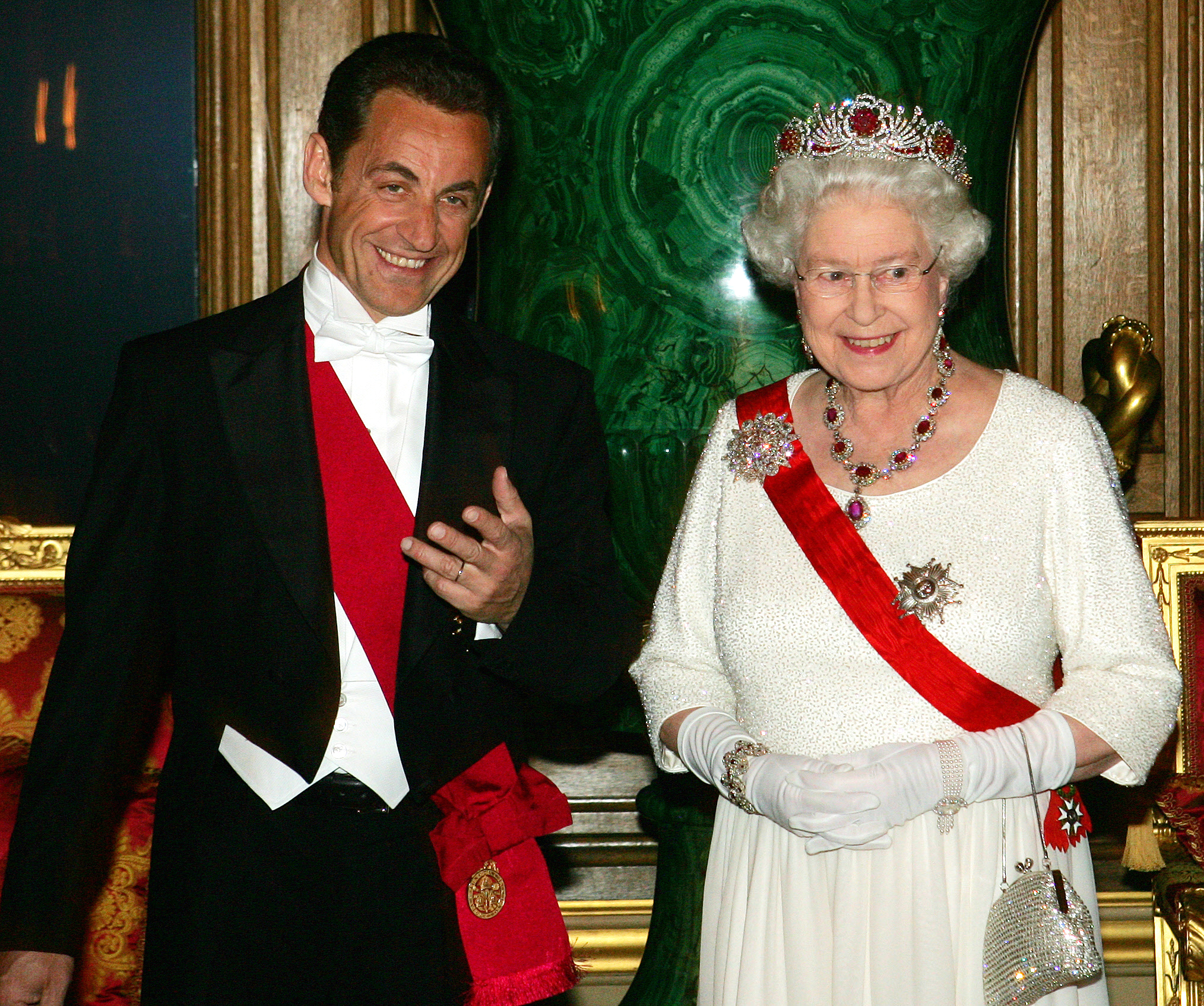 Queen Elizabeth II hosts a State Banquet for President Nicolas Sarkozy at Windsor Castle