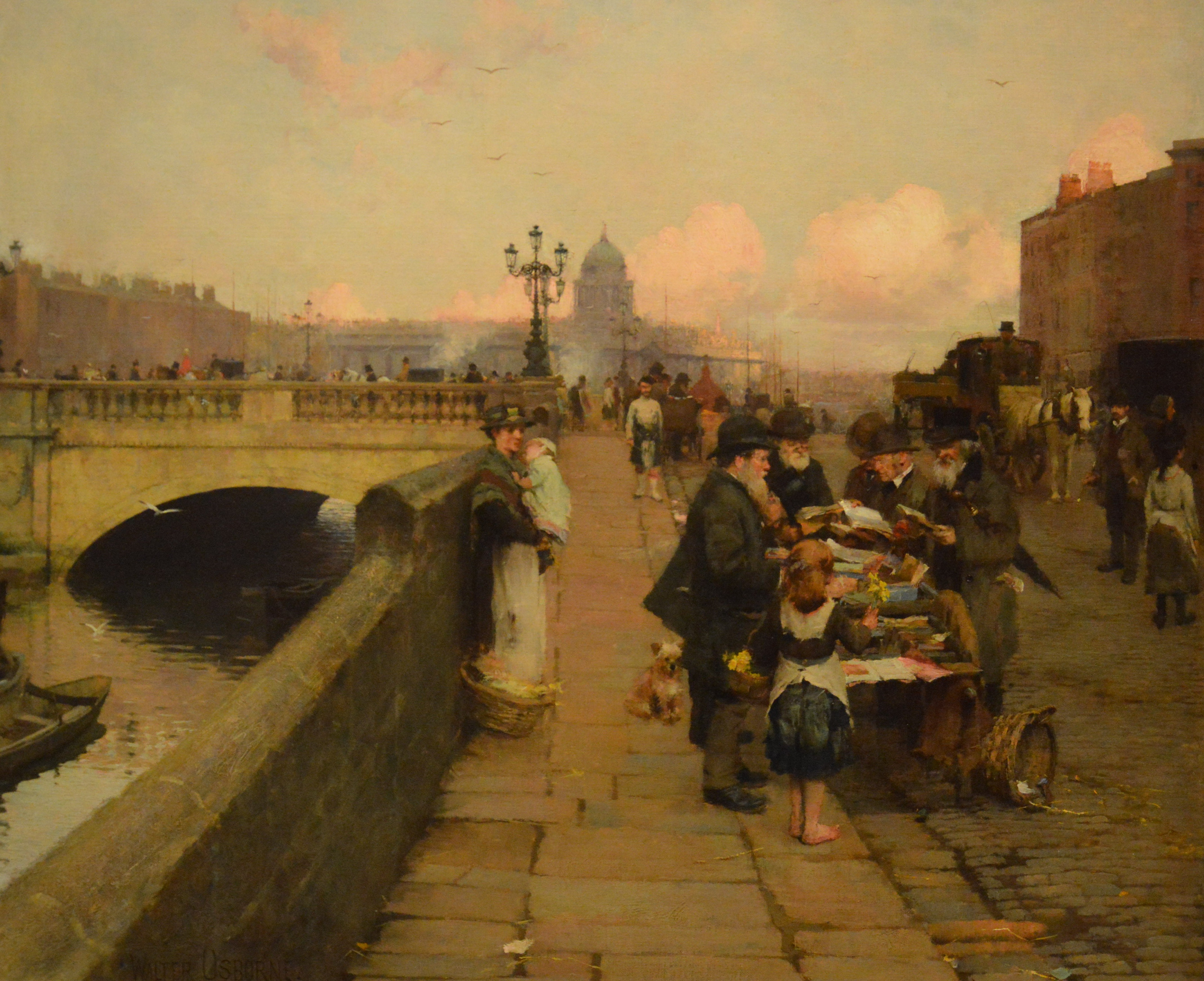 "Walter Frederick Osborne, ""The Dublin Streets""; a vendor of Books (1889)"