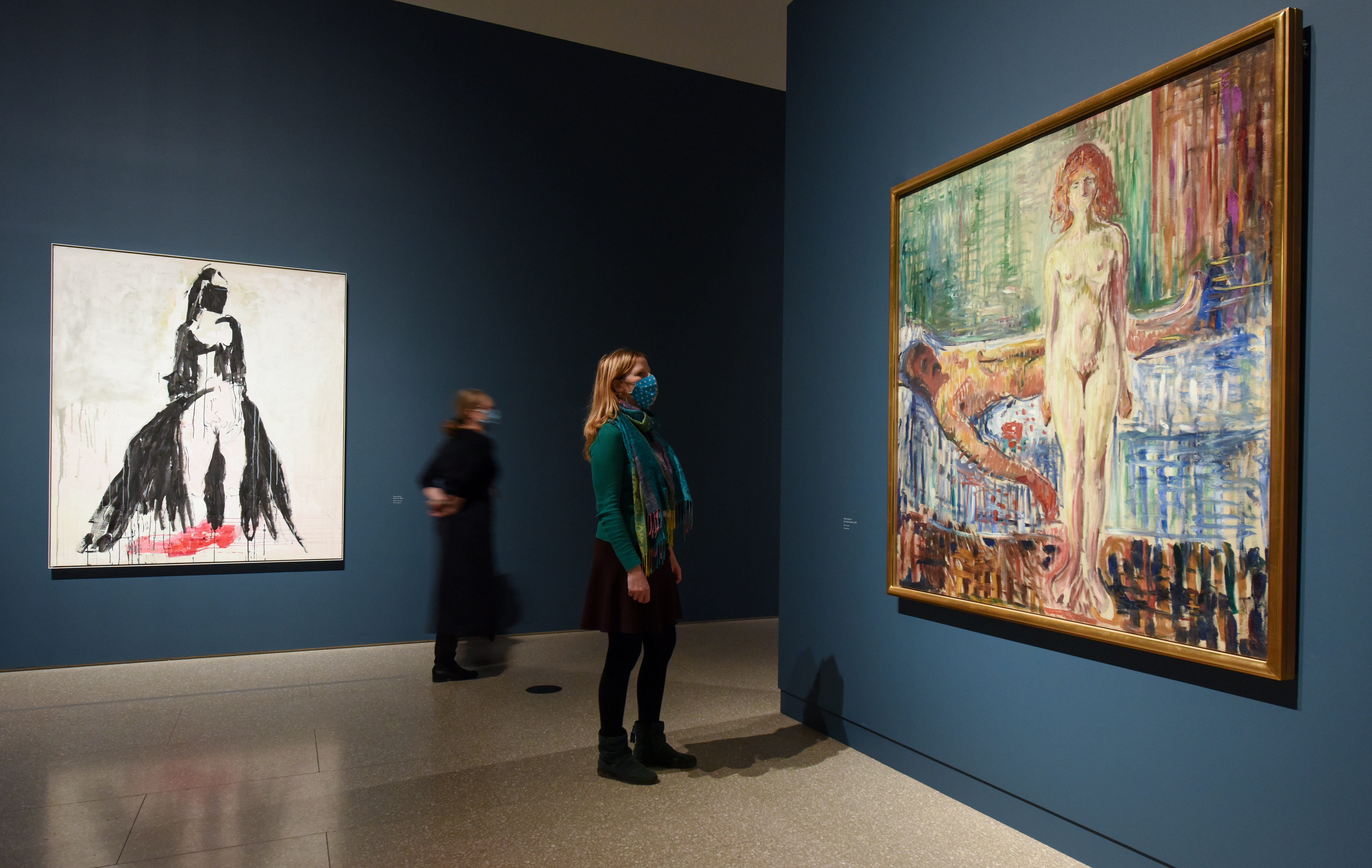 "A general view showing 'Black cat, 2008' by Tracey Emin and 'The Death of Marat, 1907' by Edvard Munch' during the ""Tracey Emin/Edvard Munch: The Loneliness of the Soul"""