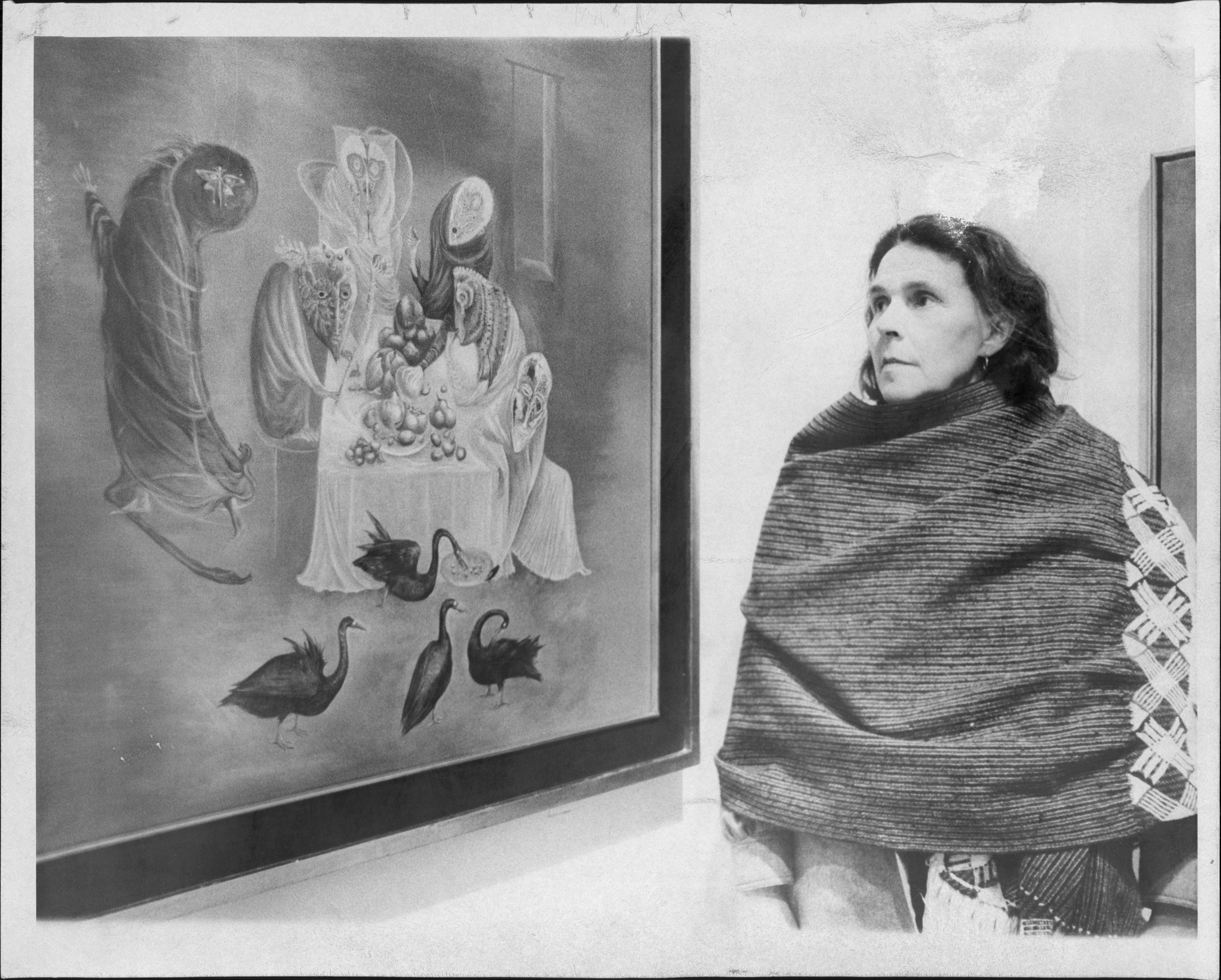 """Leonora Carrington with """"Lepidoptera,"""" painted in 1969"""