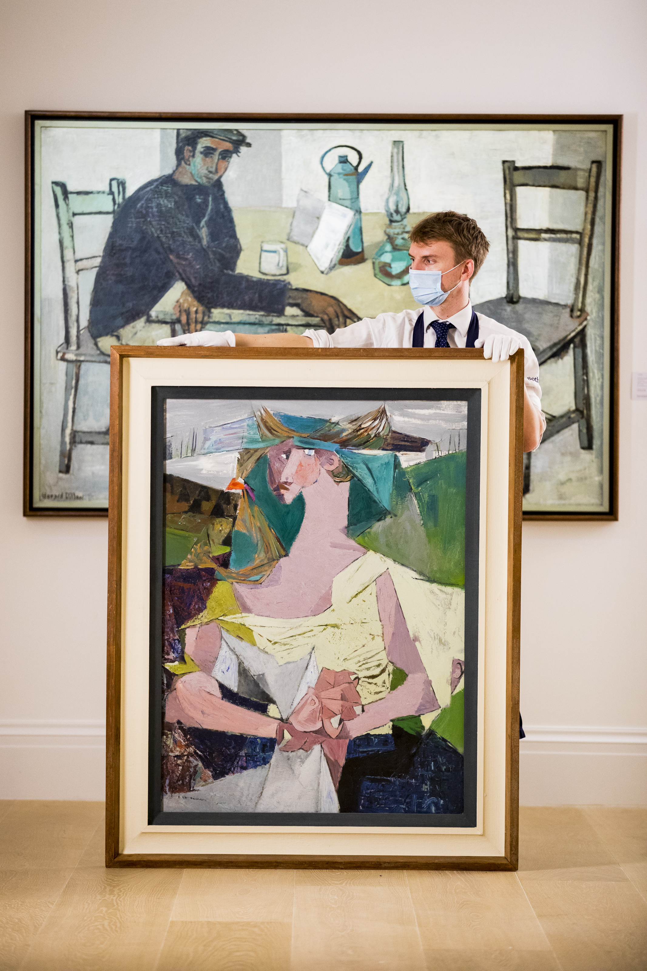 """Louis le Brocquy's """"Travelling Woman with Newspaper"""", Sotheby's Irish Art Pre-Sale Exhibition, London England September 4, 2020"""