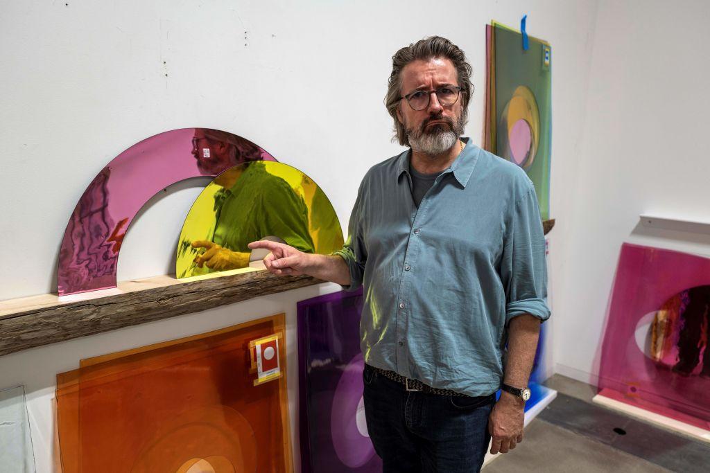 Berlin-based Danish-Icelandic artist Olafur Eliasson poses in his studio in Berlin on June 30, 2020