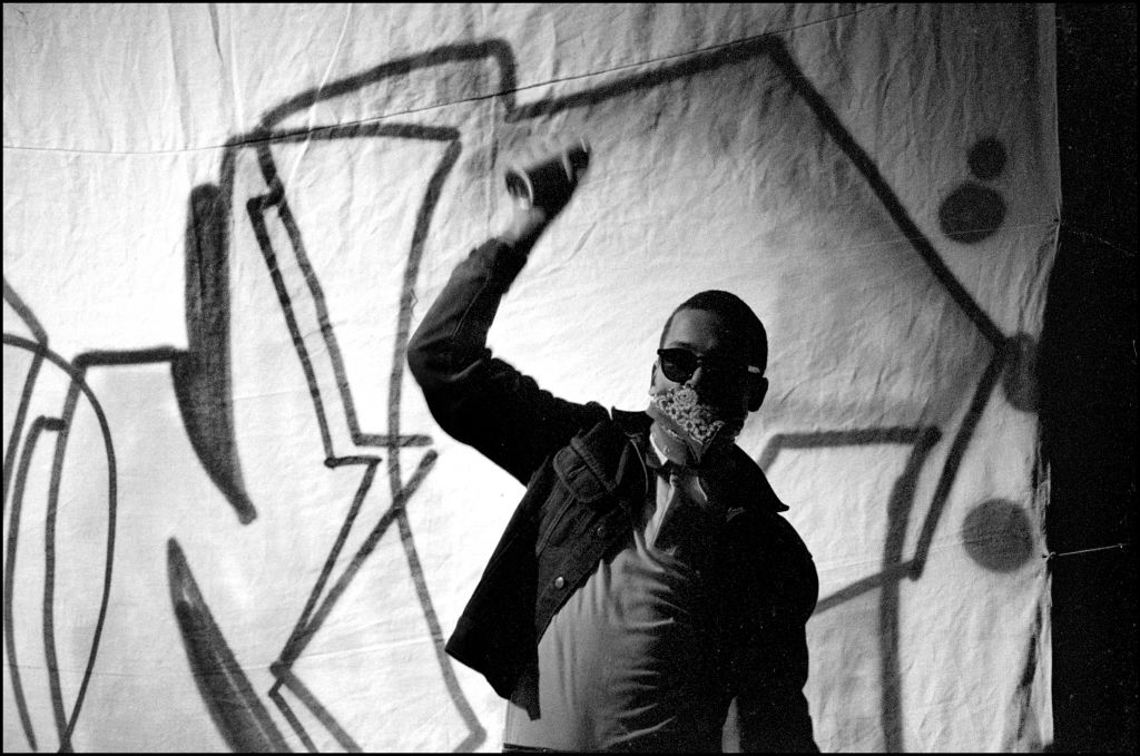 American grafitti artist, DONDI (Donald White, 1961 - 1998), at The Venue, London, 27th November 1982