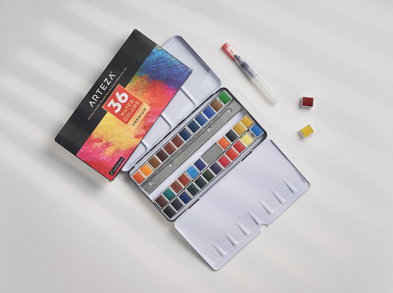 Watercolor Premium Artist Paint, Half Pans - Set of 36