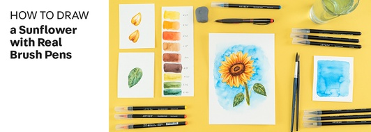 How to Draw a Sunflower with Real Brush Pens