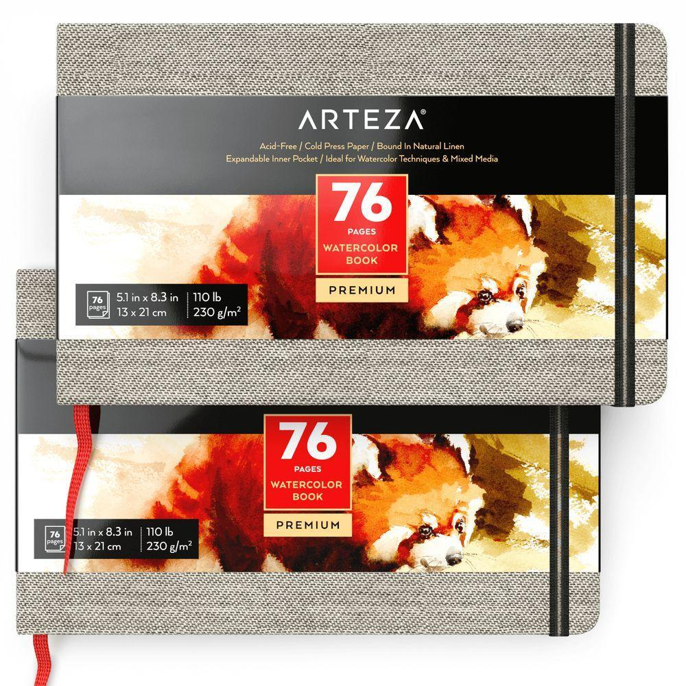 Arteza-Hardcover-Watercolor-Book-5-1-034-x-8-3-034-76-Pages-Pack-of-2