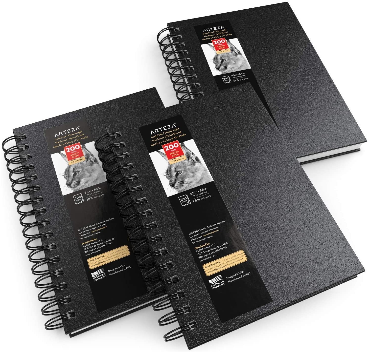 """Sketchbook, Spiral-Bound Hardcover, Black, 5.5 x 8.5"""" - Pack of 3"""