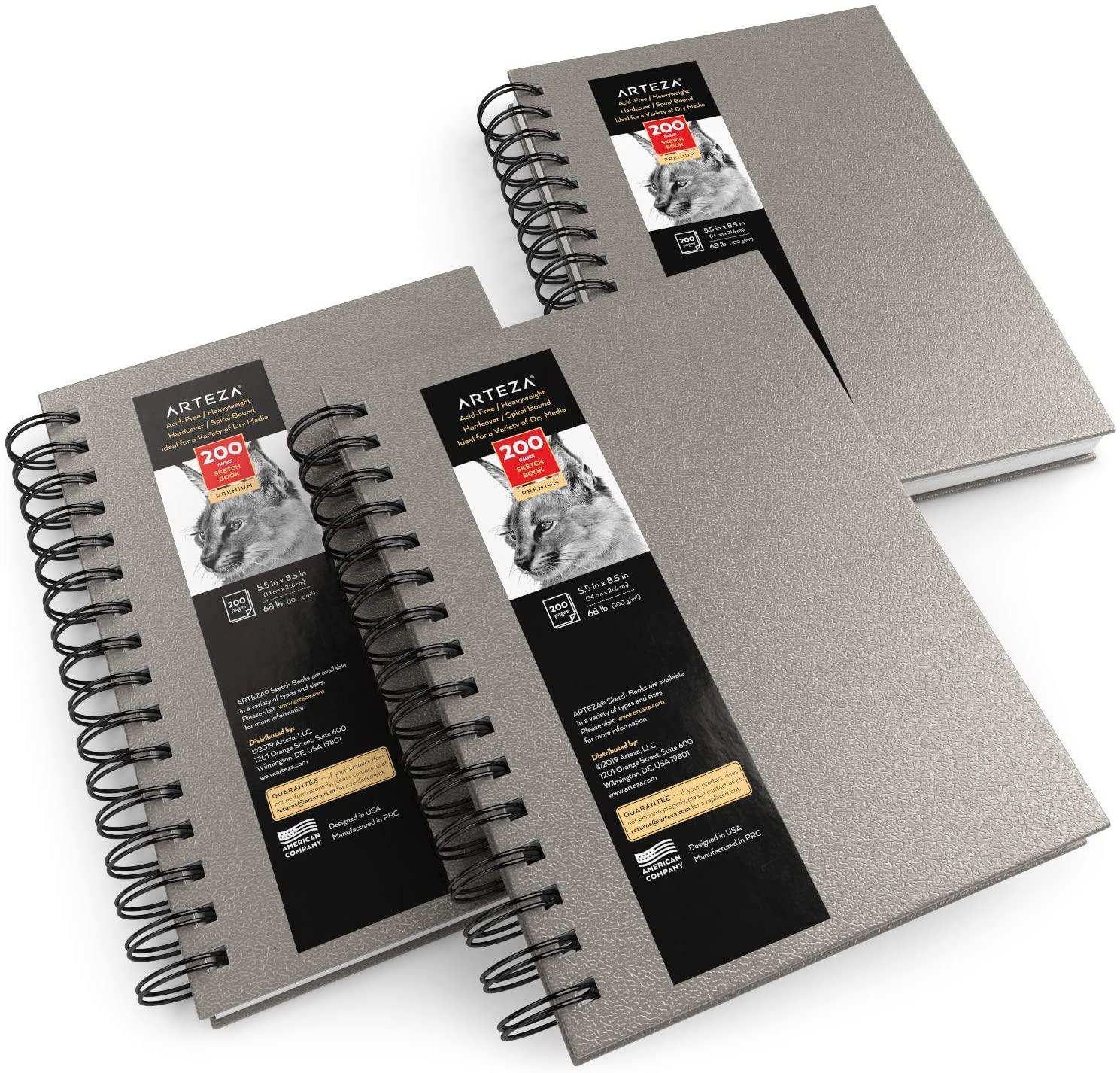 "Sketchbook, Spiral-Bound Hardcover, Gray, 5.5x8.5"" - Pack of 3"