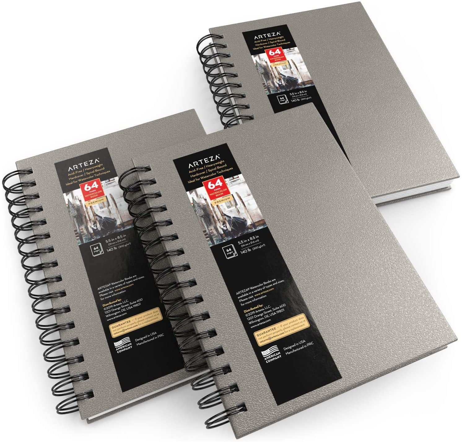 """Watercolor Book, Spiral-Bound Hardcover, Gray, 5.5x8.5"""" - Pack of 3"""
