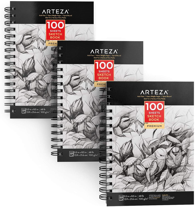 """Sketchbook, 5.5"""" x 8.5"""", 100 Sheets - Pack of 3"""