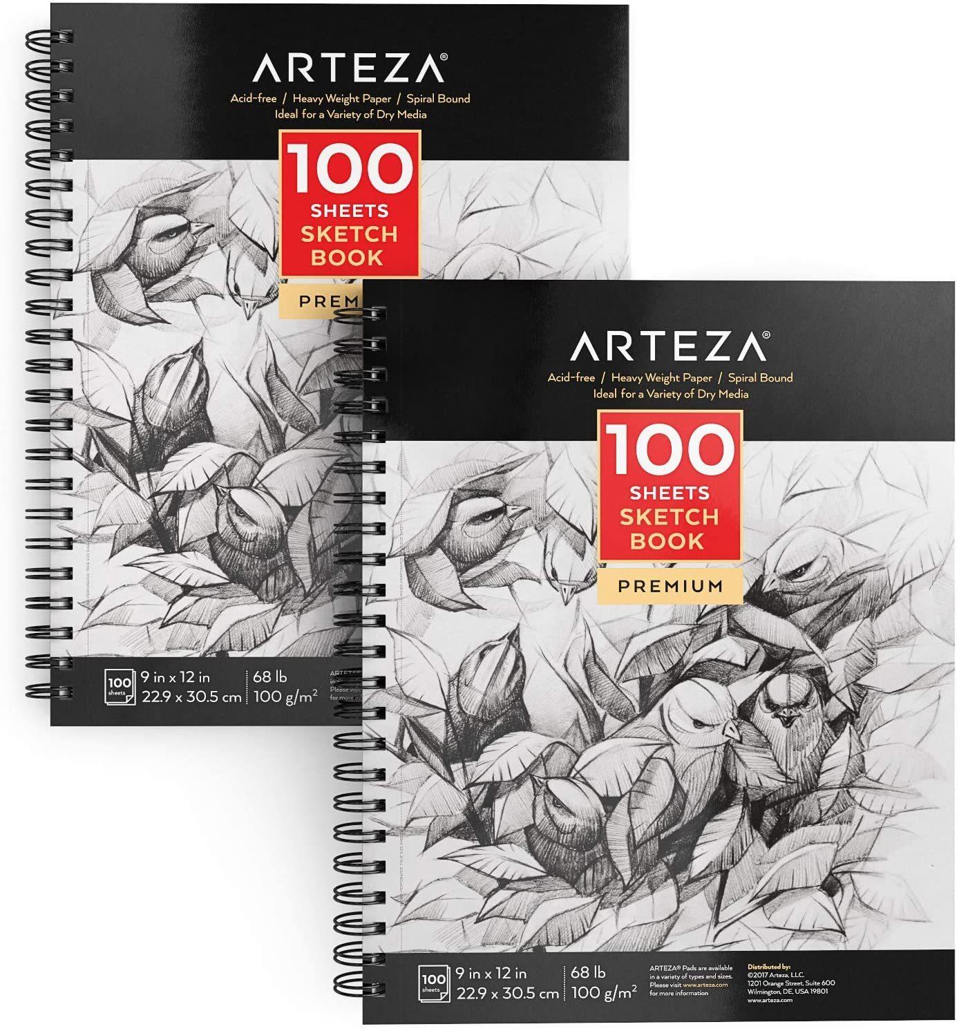 """Sketchbook, 9"""" x 12"""", 100 Sheets - Pack of 2"""