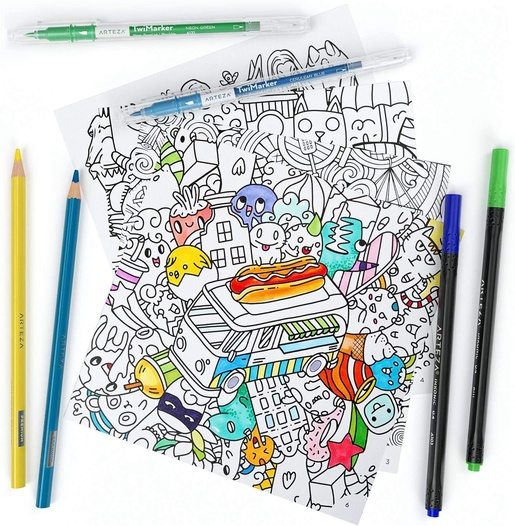 Coloring Books, Animal & Doodle Illustrations ARTEZA