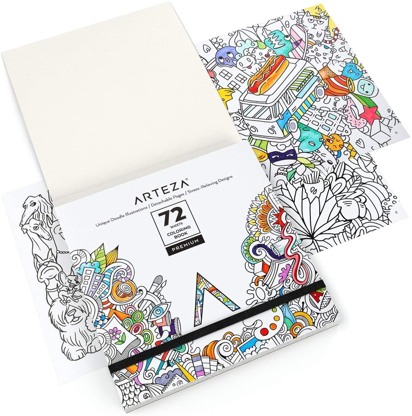 for Relaxation and Stress Relief Arteza Animal Coloring Art Set Colored Pencils 48 and Animal Coloring Book with 72 Unique Designs