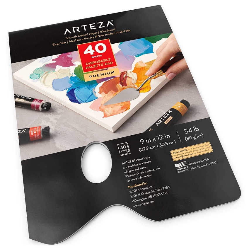 9-inch x 12-inch Tape Bound 40 Sheets Palette Pad