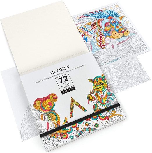 - Coloring Book, Animal Illustrations, Gray Outlines, 72 Sheets ARTEZA
