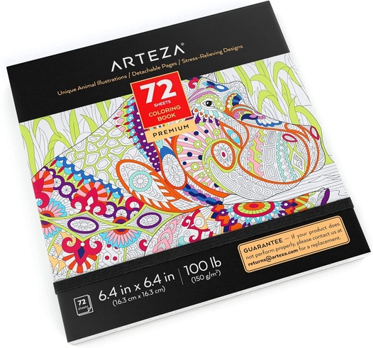 Coloring Book, Animal Illustrations, Gray Outlines ARTEZA