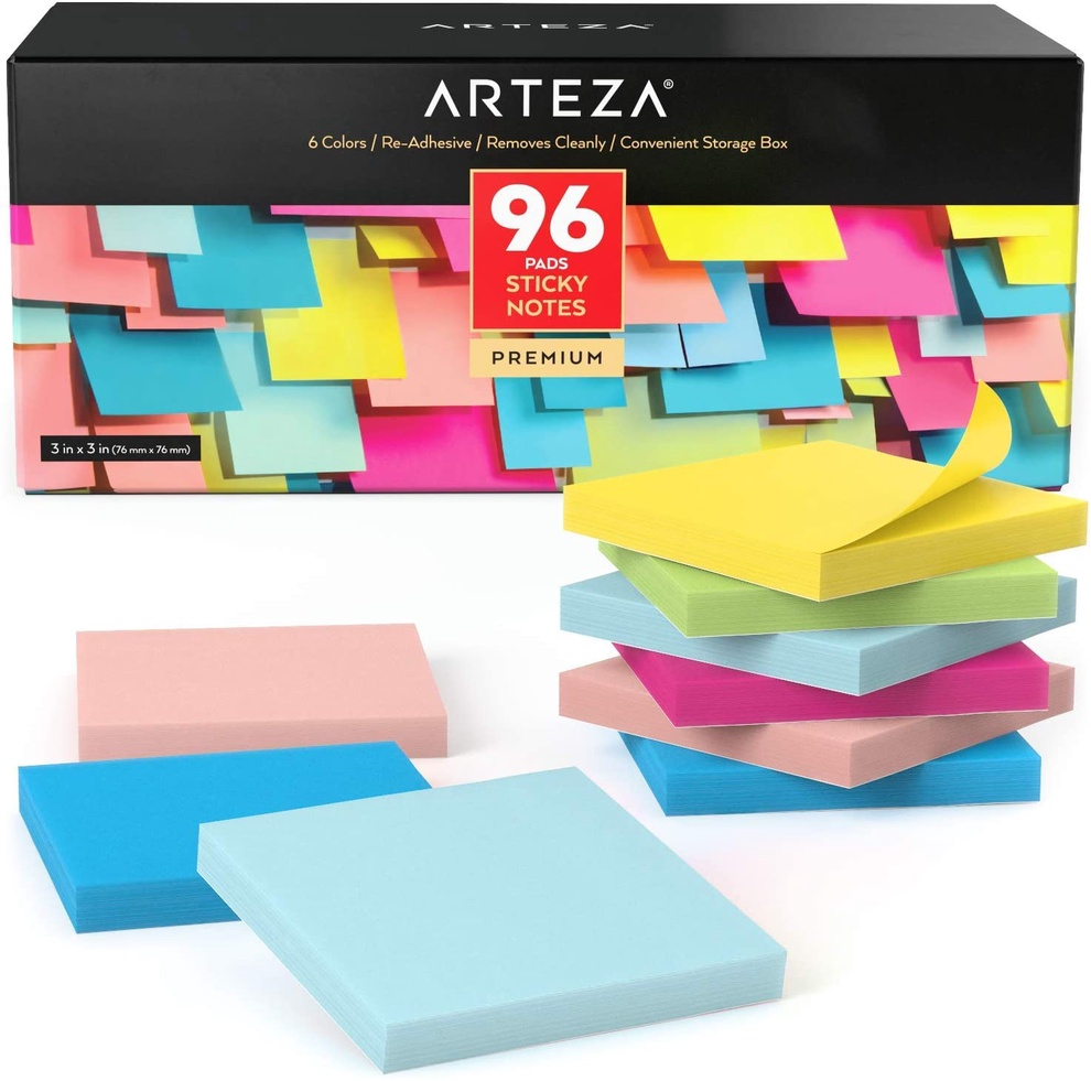 Pack of 96 Arteza Sticky Notes, 100 Sheets