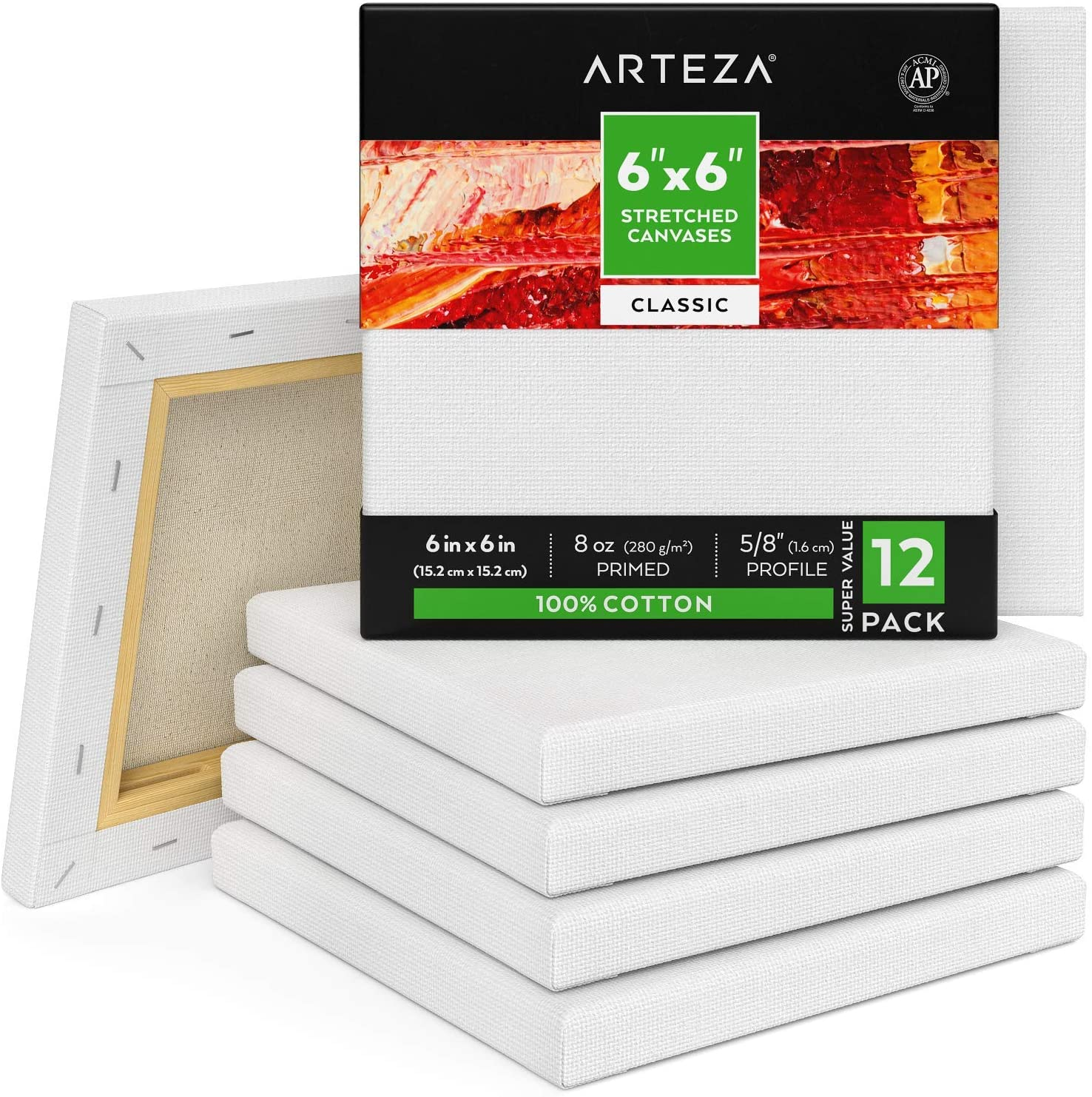 of 12 Canvas Panel 6X6 Pack Of 12 6x6