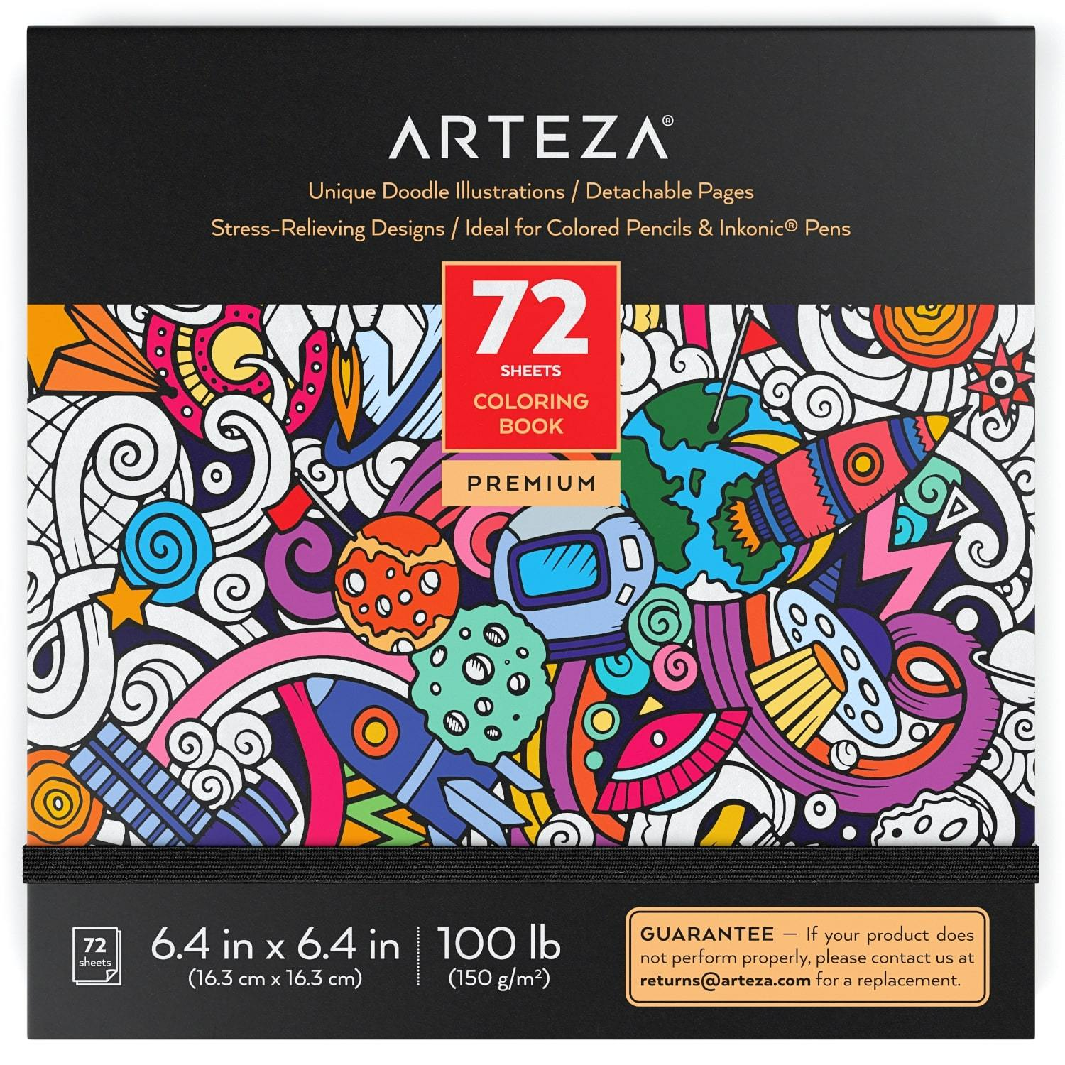 72 Relaxing Coloring Pages for Relieving Stress and Anxiety for Adults and Teens Encourages Meditation Promotes Mindfulness Black Outlines Arteza Doodle Coloring Book for Adults