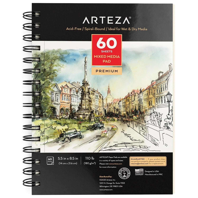 Arteza Mixed Media Paper Foldable Canvas Pad and Acrylic Paint 60 Bundle