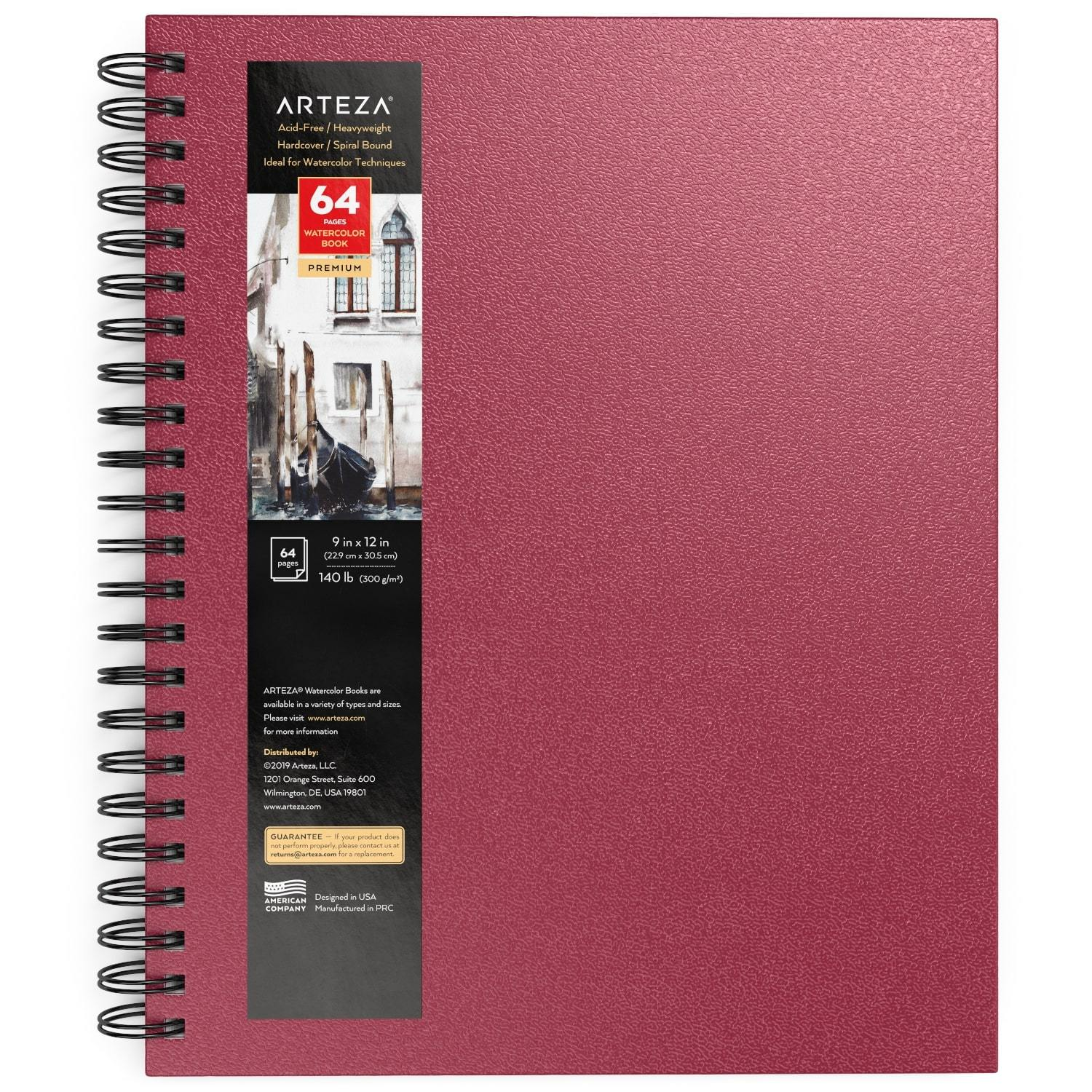 """Watercolor Book, Spiral-Bound Hardcover, Pink, 9"""" x 12"""""""