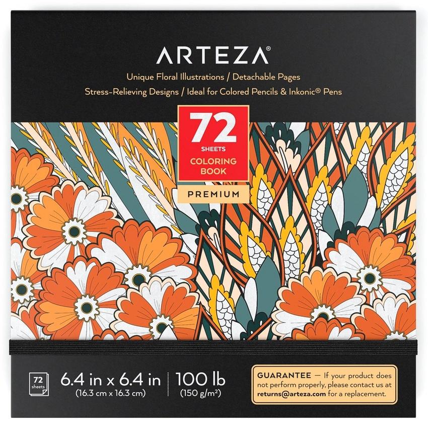 Coloring Book, Floral Illustrations, 72 Sheets ARTEZA