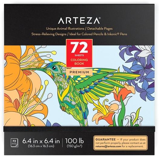 Coloring Book, Animal Illustrations, 72 Sheets ARTEZA